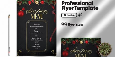 Free Christmas Menu Flyer Template in PSD