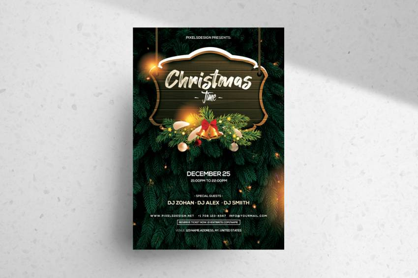 Free Christmas Time 2020 Flyer Template in PSD