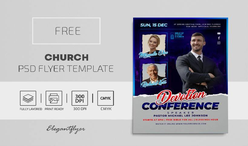 Free Church Workship Flyer Template in PSD