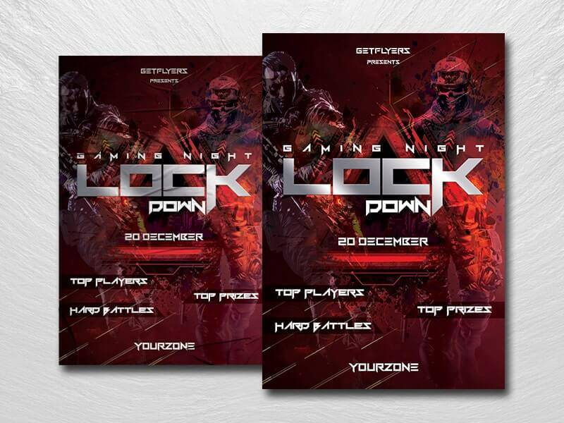 Free Gaming Lockdown Flyer Template in PSD