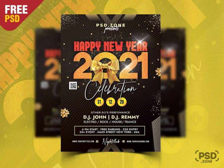 Free Happy New Year 2021 Party Flyer Template in PSD