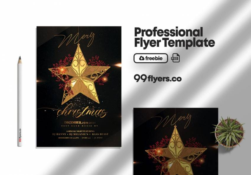 Free Luxury Christmas Invitation 2020 Flyer Template in PSD