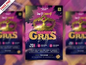 Free Mardi Gras Party Flyer Template in PSD