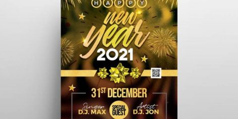 Free New Year 2021 Party Flyer in PSD