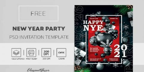 Free New Year Party Flyer Template in PSD