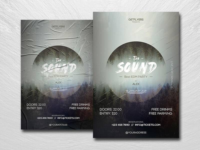 Free Sound Party Flyer Template in PSD