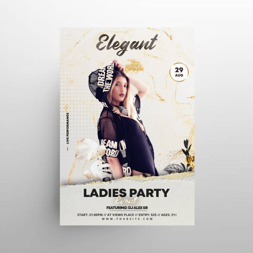Classy White Party Free Flyer Template (PSD)