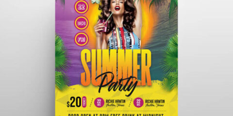 Download Hot Summer Event PSD Flyer Template for free.