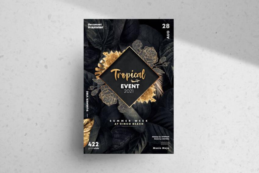 Summer Black & Gold Free Flyer Template (PSD)