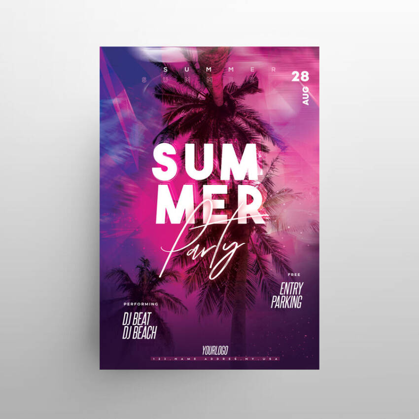 Tropical Vibes 2021 Free Flyer Template (PSD)