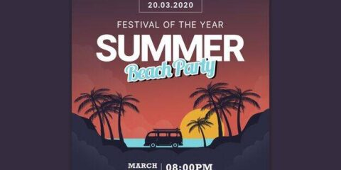 Download Summer Vacation Party PSD Flyer Template for free.