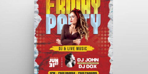 Friday Night Party Free Flyer Template (PSD)