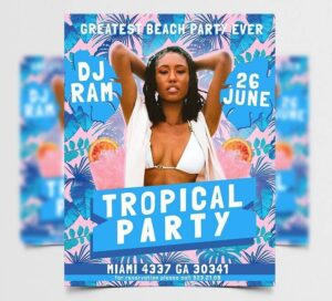 Greatest Tropical Party Free Flyer Template (PSD)