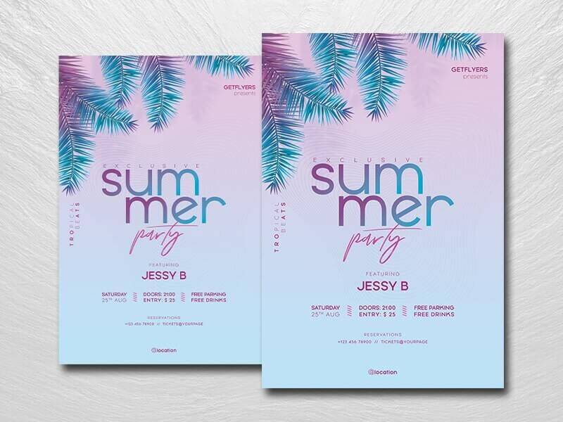 Minimalist Summer Party Free Flyer Template (PSD)