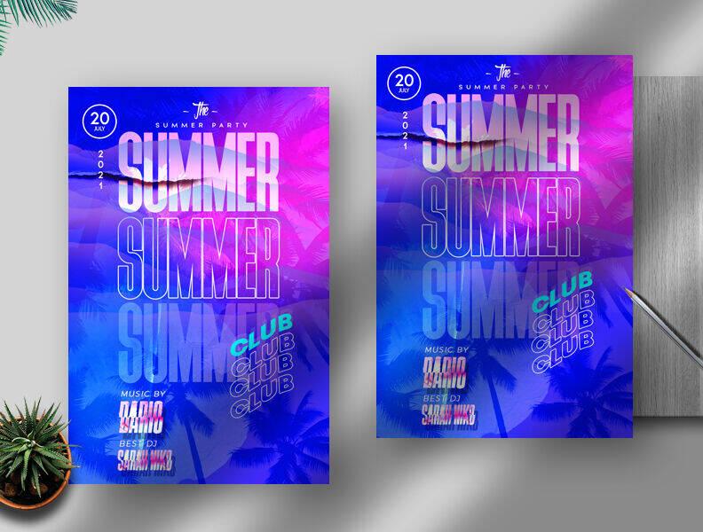 Modern Summer Club Event Free Flyer Template (PSD)