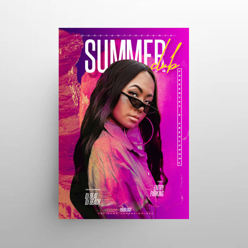 Summer Night Vibes Free Flyer Template (PSD)