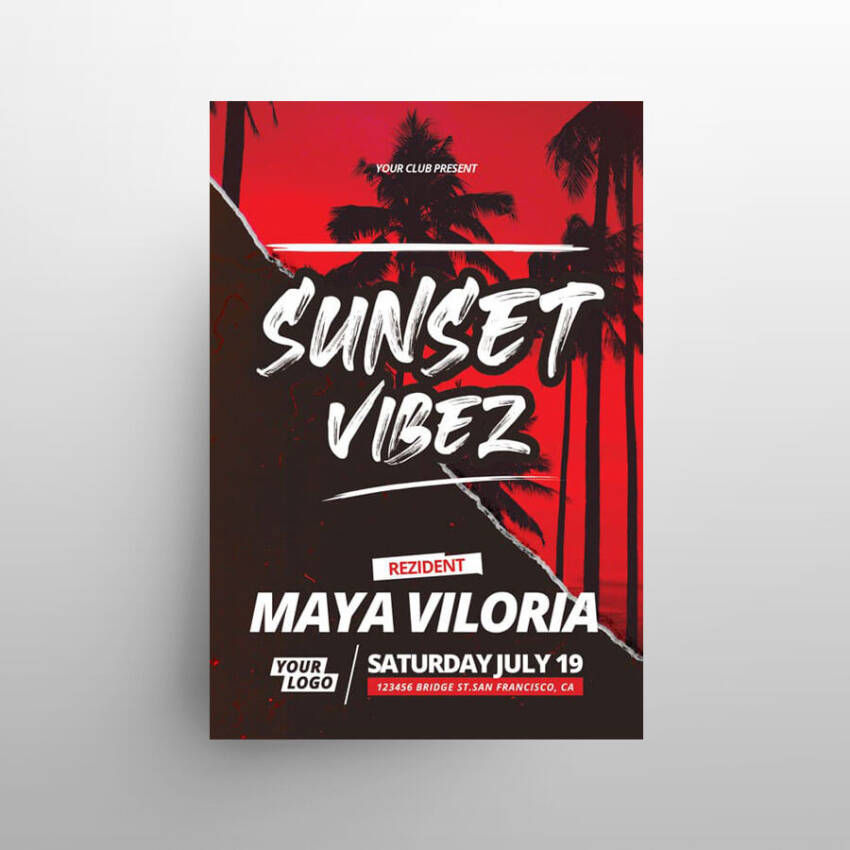 Sunset Vibes Free Flyer Template (PSD)
